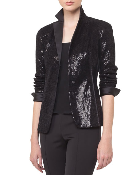Akris Sequin Satin Lapel Snap-Front Cocktail Jacket