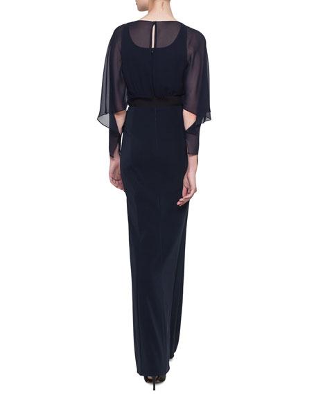 Long-Sleeve Silk Georgette Blouson Gown