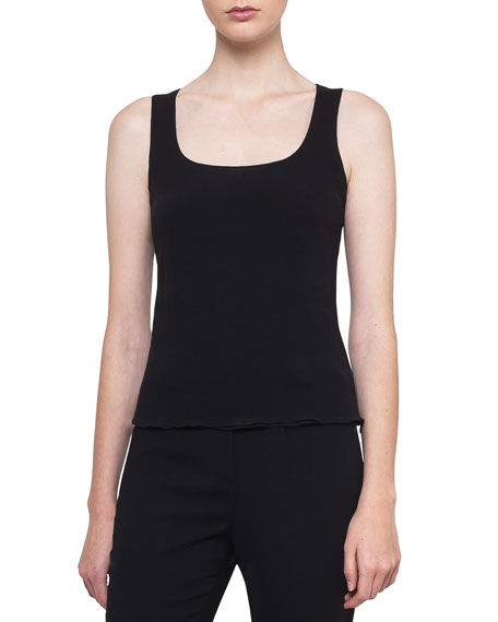 Akris Scoop-Neck Sleeveless Double-Layer Silk Tank