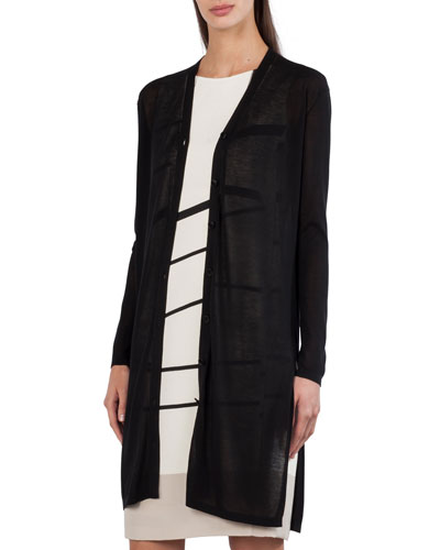Long-Sleeve Button-Front Cardigan with Side Slits