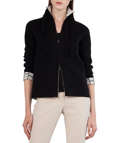 Reversible Broken Stripes Intarsia Cashmere Jacket
