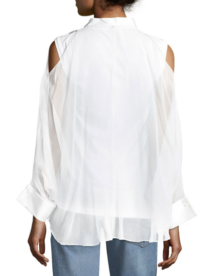 Cold-Shoulder Monili-Trim Layered Shirt