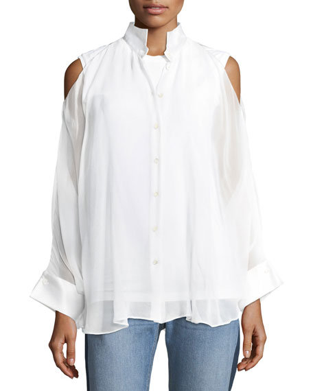 Brunello Cucinelli Cold-Shoulder Monili-Trim Layered Shirt