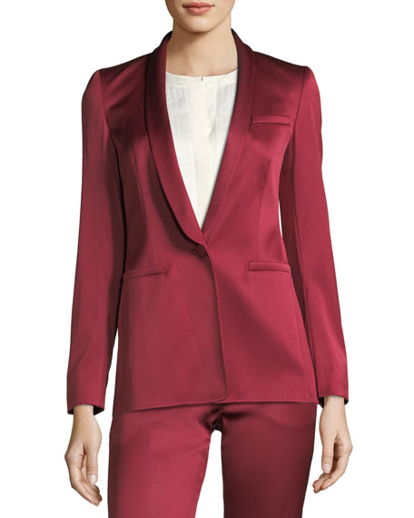 One-Button Shawl-Collar Duchess Satin Blazer