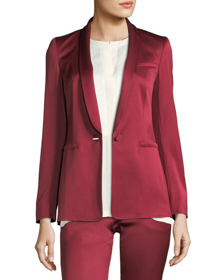 Escada One-Button Shawl-Collar Duchess Satin Blazer