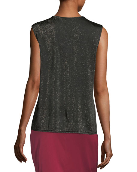 Draped Lurex Knit Tank Top