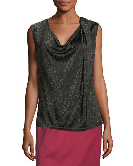 Draped Lurex Knit Tank Top