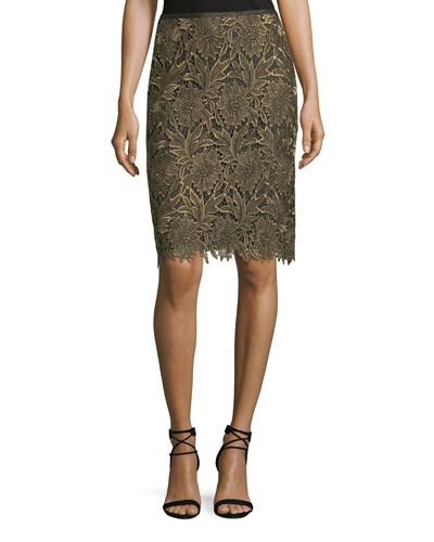 Floral-Lace Lurex® Pencil Skirt
