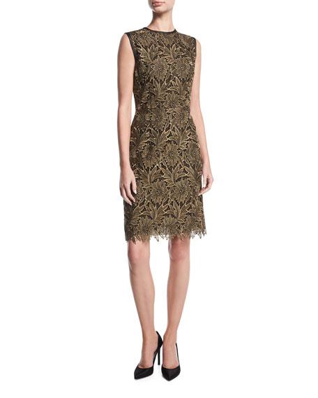 Lurex Floral Lace Cocktail Sheath Dress