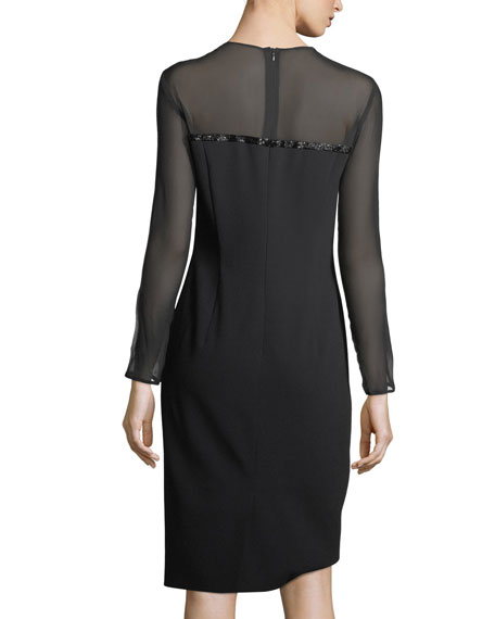 Beaded Satin Long-Sleeve Cocktail Dress