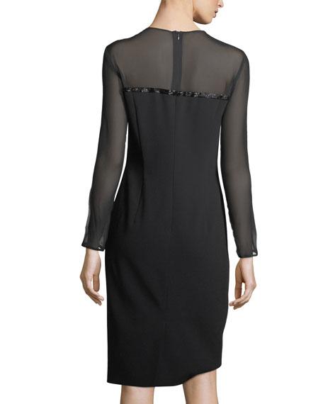 Beaded Satin Long-Sleeve Cocktail Dress
