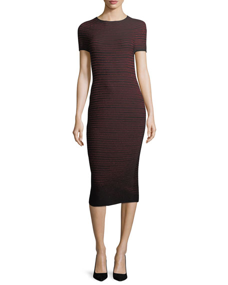 Escada Lurex Ottoman-Knit Bodycon Midi Dress