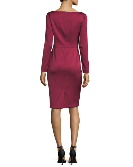 Eve Duchesse Satin Cocktail Sheath Dress