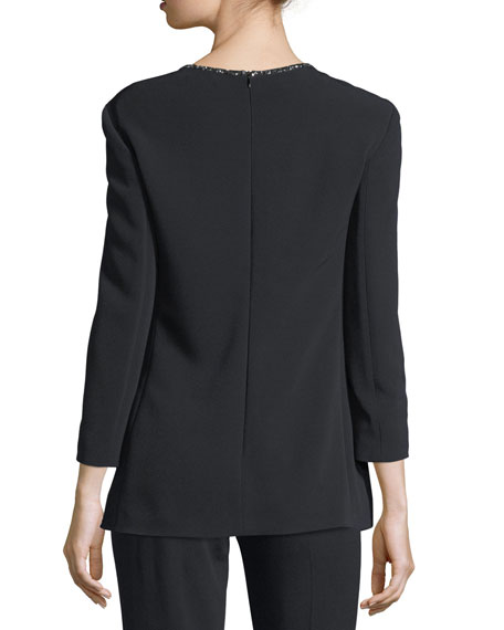 Crystal-Neckline 3/4-Sleeve Tunic