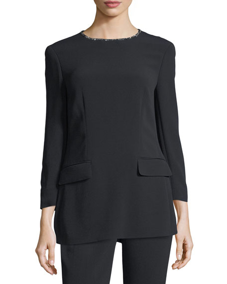 Escada Crystal-Neckline 3/4-Sleeve Tunic and Matching Items