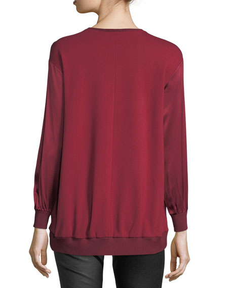 Crewneck Long-Sleeve Satin Sweatshirt