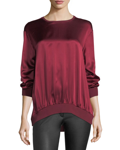Escada Crewneck Long-Sleeve Satin Sweatshirt