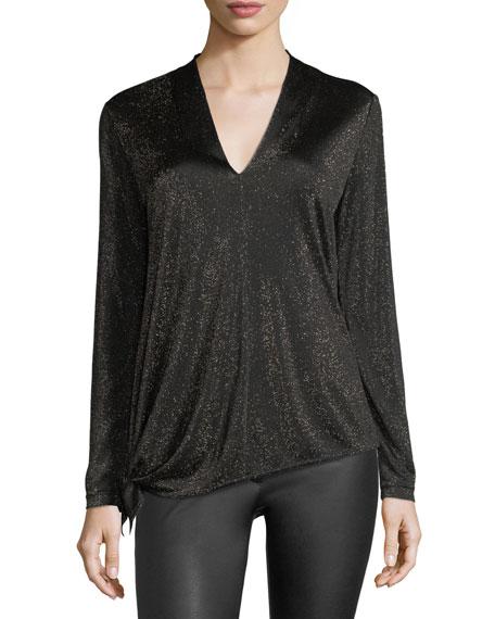 Lurex Jersey V-Neck Pullover