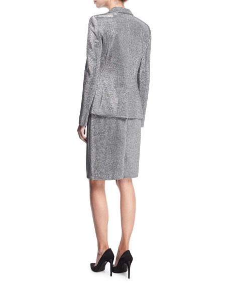 Lurex® Notch-Collar One-Button Blazer