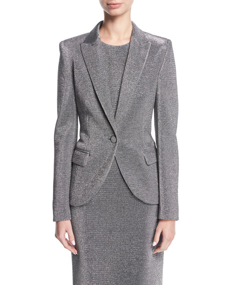 Escada Lurex?? Notch-Collar One-Button Blazer