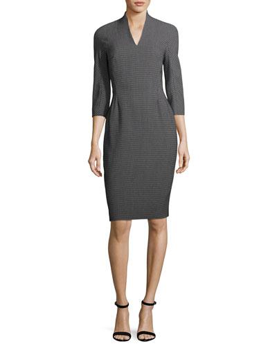 Pixie-Print V-Neck Sheath Dress