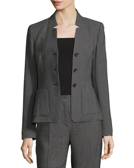Pixie-Print Three-Button Blazer