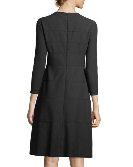 3/4-Sleeve Wool/Cotton A-Line Dress