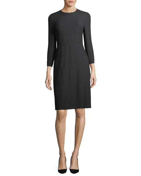 3/4-Sleeve Wool/Cotton A-Line Dress