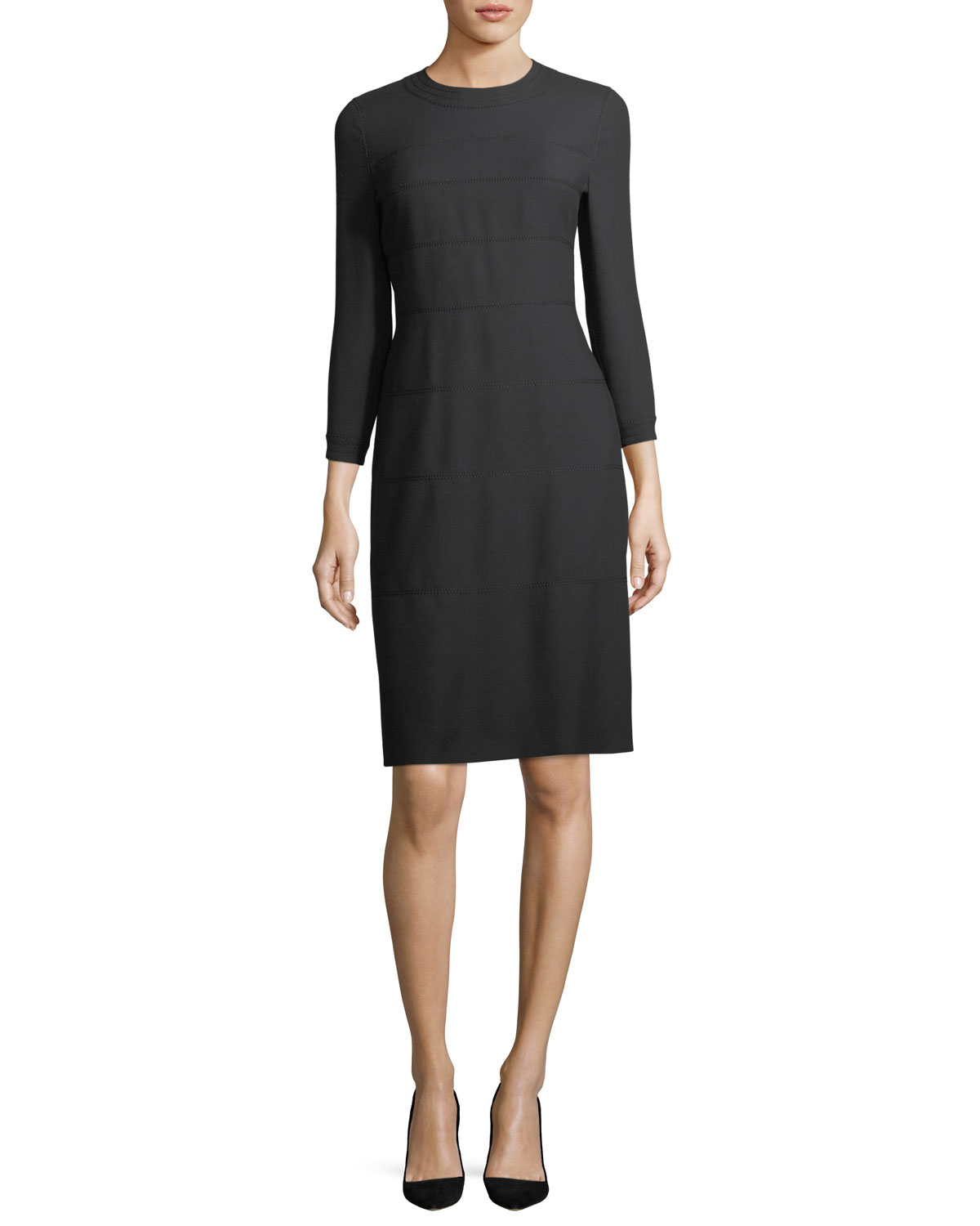 Quick Look. Escada · 3/4-Sleeve Wool/Cotton A-Line Dress. Available in Black
