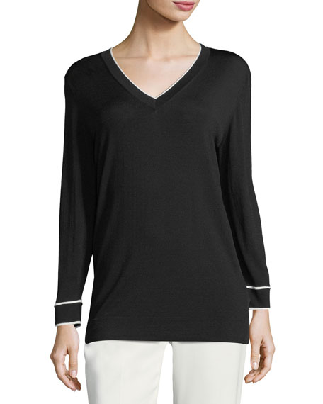 Contrast-Tip V-Neck Sweater
