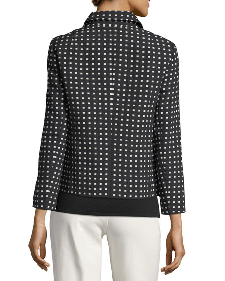 Square-Print Short Jacket