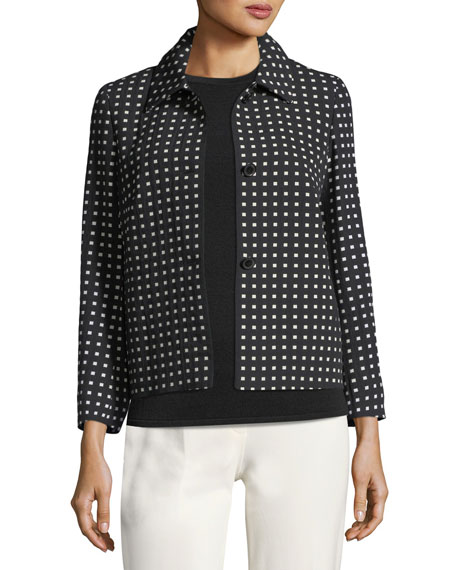 Escada Square-Print Short Jacket