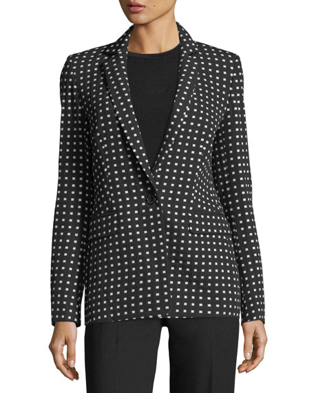 Square-Print One-Button Blazer