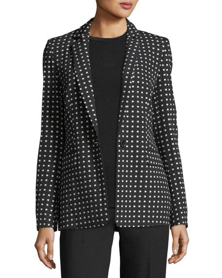 Escada Square-Print One-Button Blazer