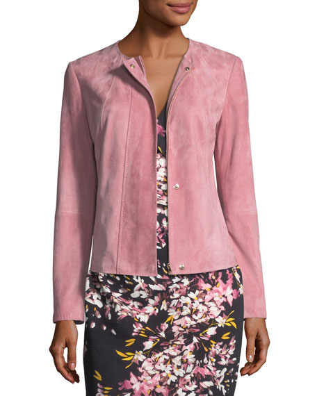 Escada Snap-Front Suede Jacket with Seam Details and