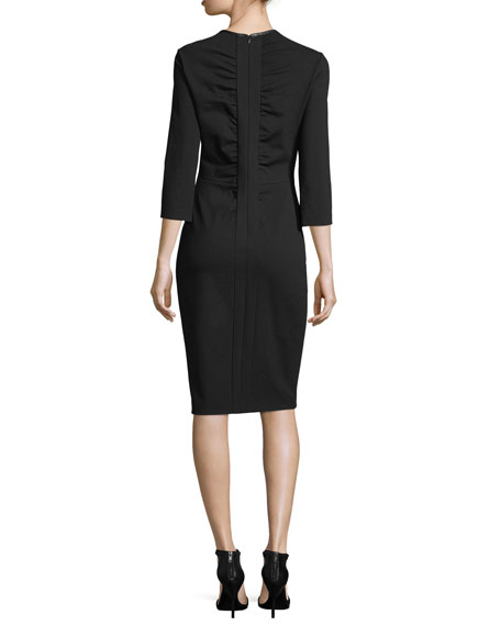 3/4-Sleeve Jersey Dress with Faux-Leather Trim