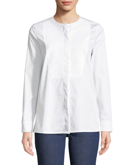 Long-Sleeve Cotton Poplin Tunic with Pique Bib