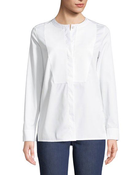 Escada Long-Sleeve Cotton Poplin Tunic with Pique Bib