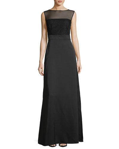 Sequined-Bodice Sleeveless Gown