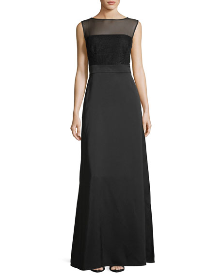 Escada Sequined-Bodice Sleeveless Gown