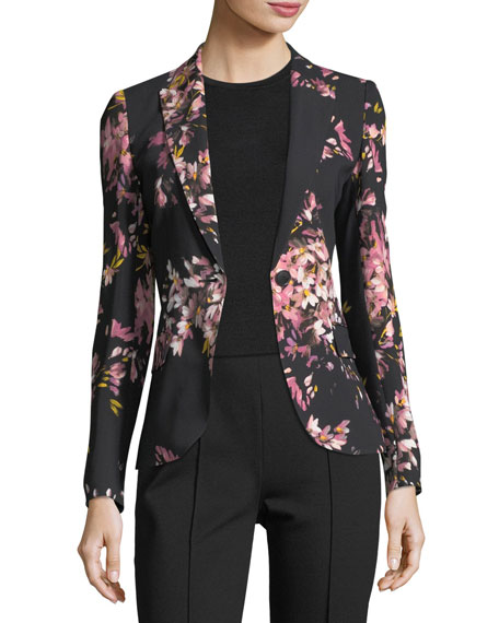 Escada Brikenan One-Button Jersey Floral-Print Blazer and