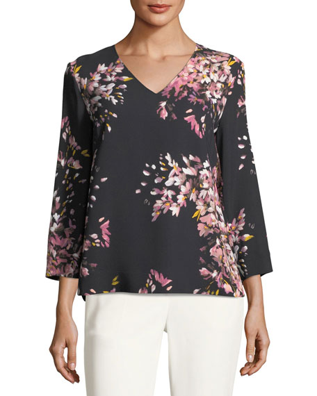 Escada V-Neck Long-Sleeve Floral-Print Tunic