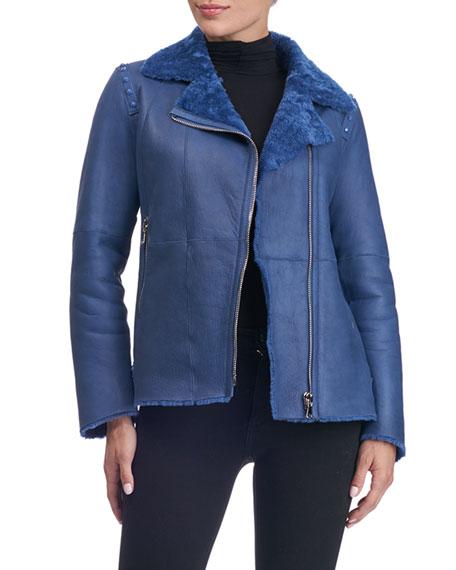 Shearling Fur-Lined Moto Jacket