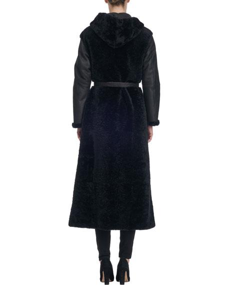Long Belted Shearling Fur Coat