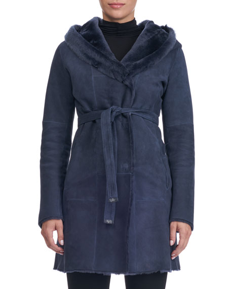 Hooded Lambskin Wrap Coat with Fur Lining