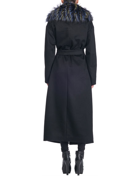 Colombo Belted Cashmere Coat with Fox-Fur Collar