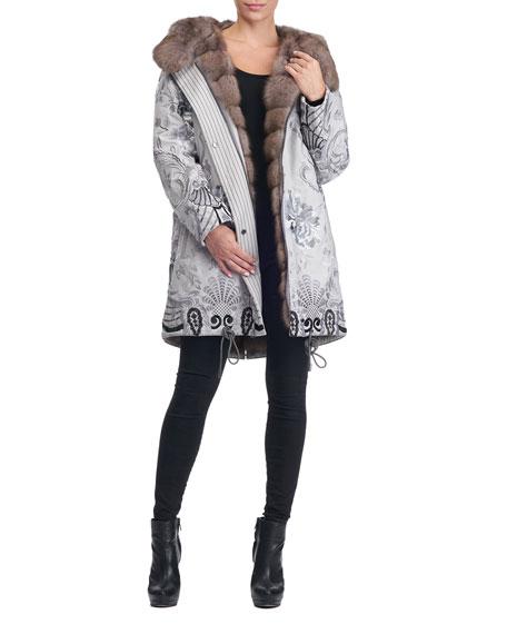 Reversible Fur-Lined Embroidered Stroller Coat