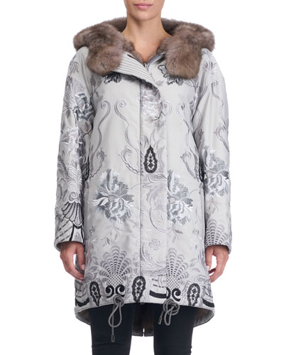 Reversible Fur-Lined Embroidered Stroller Coat