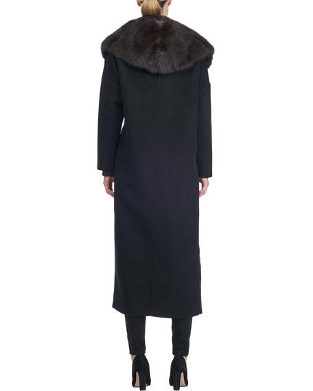 Wool-Blend Coat with Sable Fur Trim