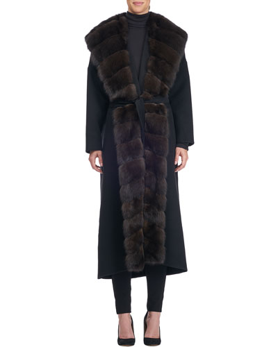 Wool-Blend Coat with Sable Fur Trim